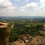 A view of Vernaccia vineyards from a tower in San Gimignano