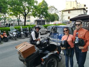 florence sidecar tour - two brazilian guys ready to start for the sunset sidecar experience