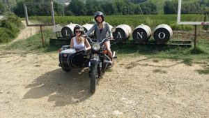 Lunch and wine tasting at Luiano boutique winery during a vintage sidecar tour with De Gustibus tours