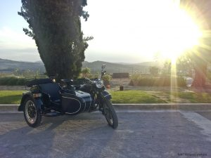 Sunset in Chianti during a vintage sidecar tour wirth De Gustibus tours
